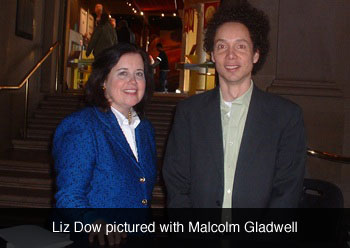 Liz Dow pictured with Malcolm Gladwell